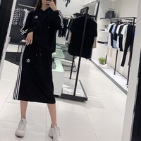 """Adidas"" Women Fashion Letter Multicolor Stripe Mini Dress Hooded Long Sleeve Middle Long Skirt Set Two-Piece Sportswear"