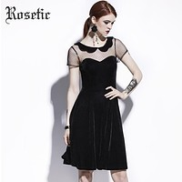 Rosetic Gothic Casual Dress Summer Women Black A-Line Poly Spun Velour Hollow Party Preppy Fashion Slim Mesh Vintage Goth Dress