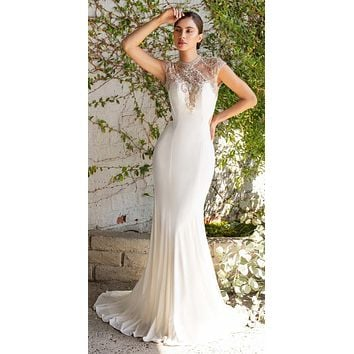Beaded Cap Sleeved Long Off White Wedding Dress Cut-Out Back