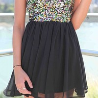 Black Strapless Dress with Multi Color Sequin Bodice Top