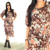Vintage 70s FLORAL Semi Sheer DROP Waist Midi Dress Brown Multi // Hippie Boho Gypsy // XS Extra Small / Small / Medium