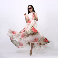 Summer Women Sexy Boho Long Maxi Dresses Casual Floral Beach Chiffon Dresses S M L New 2015