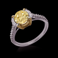 Two tone gold 3.26 carat yellow canary diamonds engagment ring jewelry