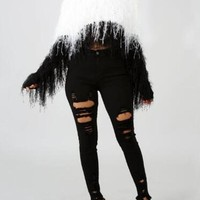 New White-Black Patchwork Tassel Faux Fur Irregular Unique Cut Up Casual Pullover Sweater
