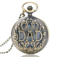 Father's Day' Gift Big Letter DAD Quartz Pocket Watch Antique Fob Clock Man's Father Papa Pendant With Necklace Chain 2018