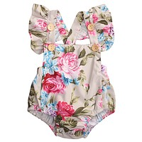 Newborn Infant Baby Clothing lIttle Kids Girl Romper Summer Floral Jumpsuit braces Babies Clothes Outfits