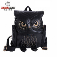 New Women Cartoon Owl Leather Backpack Preppy Style Mochila Sac A Dos Small Female Kanken Bag For Teenage Girls Snoep Zakje Dier