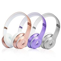 Snug Beats Solo 3 Wireless Magic Sound Bluetooth Wireless Hands Headset MP3 Music Headphone with Microphone Line-in Socket TF Card Slot Rose Gold I
