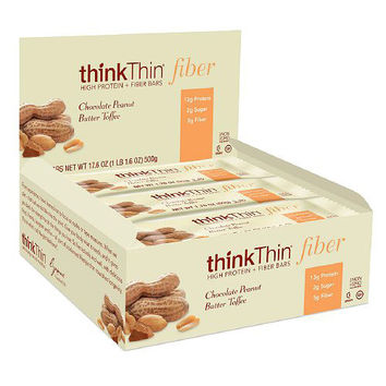Think Products Bars - thinkThin Chocolate Peanut Butter Toffee Protein plus Fiber - 1.76 oz - Case of 10