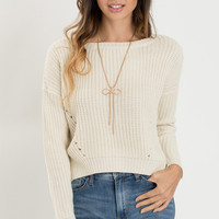 Debra Cream Cropped Knit Sweater