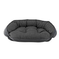 Crescent Bolstered Dog Bed — Storm MicroLinen / Ash MicroVelvet