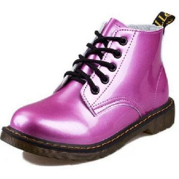 Silk Pink Leather Lace Up Patent Shoes