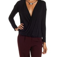 Black Long Sleeve Bloused Wrap Top by Charlotte Russe