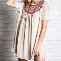Umgee Embroidered Baby Doll Tunic Dress in Taupe with Lace Sleeves