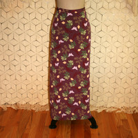 Maxi Skirt Butterfly Print Skirt Long Skirt Women Skirts Purple Green Butterfly Skirt Size 12 Skirt Size 14 Skirt Large Womens Clothing