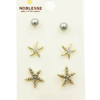 3 Pair Crystal Stone and Starfish Stud Earrings