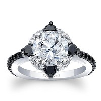 Barkev's Compass Set Black Diamond Halo Engagement Ring