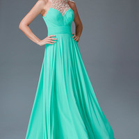 G2075 Chiffon High Jeweled Neck Prom Dress Evening Gown Mother of the Bride