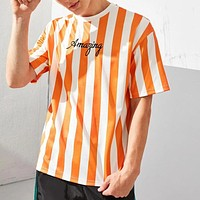 Fashion Casual  Men Embroidery Letter Two Tone Striped Top