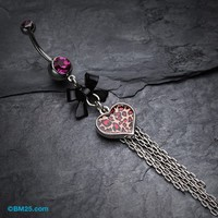 Leopard Heart Bow-Tie Belly Button Ring