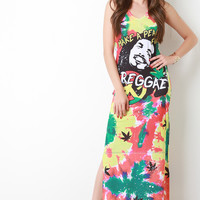 Make A Peace for Reggae Sleeveless Maxi Dress