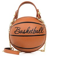 Basketball bag 2020 new fashion mini small round bag shoulder messenger bag letters print brown