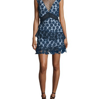 Self Portrait Sleeveless Tiered Lace Mini Dress, Navy
