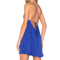 Donna Mizani Square Neck Flounce Dress in Lapis