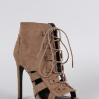 Wild Diva Lounge Lace Up Cage Booties
