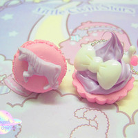 Cupcake Necklace and Macaroon Ring set