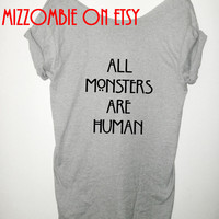 AMERICAN HORROR story all monsters are human off the shoulder loose fit ladies women slouchy t shirt