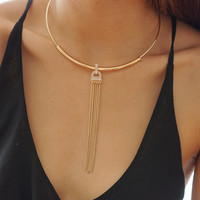 Gold Dangle Collar Necklace
