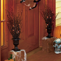 Lighted Halloween Tree Urns