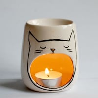 Sleepy Cat Oil Burner - Candle Holder - Tealight - Essential Oils - Frangrance - Ceramic - Porcelain - Chill Out - Zen - Peaceful - Kitten
