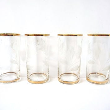 Vintage Tumblers, Glasses, Etched Flowers, Golden Edges, Trim, Set of Four