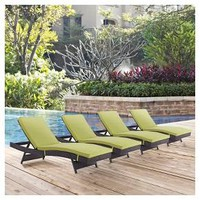 Convene Chaise Outdoor Patio Set of 4 - Modway