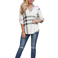 2017 Spring Women Blouses New Brand Sexy V neck Plaid Shirt Fashion Lady Tops Women Clothes Camisas Mujer