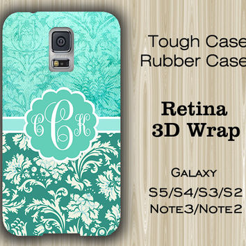 Mint Teal Floral Monogram Samsung Galaxy S5/S4/S3/Note 3/Note 2 Case