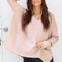Whirlwind Romance Mauve V Neck Terry Sweater