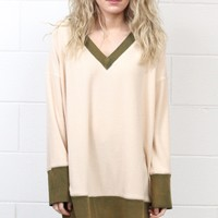 Oversized Color Block Fleece Tunic {Natural}