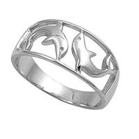 925 Sterling Silver Twin Dolphin 9MM Ring