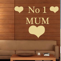 Family Wall Decals Love Quote Number One Mum Mother's Day Vinyl Decal Sticker Bedroom Interior Design Art Mural Kid Room Nursery Decor MR335