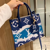 Inseva Louis Vuitton LV New Women's Gradient Printed Letter Shopping Tote
