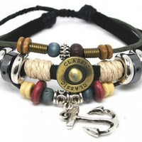 Adjustable Couple Cuff Bracelets Made of Leather Rope and Color Wooden Beads Anchor Bracelet
