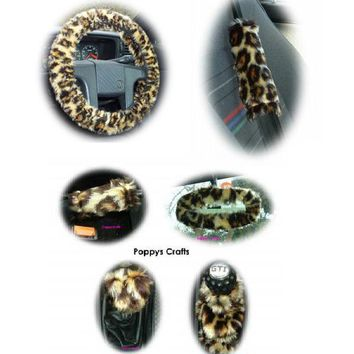 Large 7 Piece leopard print fluffy car accessories set faux fur