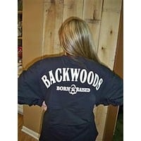 SALE Backwoods Born & Raised Black Spirit Bright Long Sleeve T Shirt Jersey