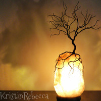 Wire Tree Sculpture and Salt Lamp Lighted Rock Sculpture Tree of Life Lamp