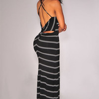 Black Striped Halter Backless Cut-Out Back Bodycon Maxi Dress