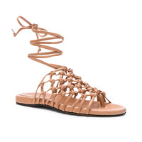 ALUMNAE Knotted Leather Ankle Wrap Sandals in Blush | FWRD