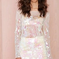 Heart of Glass Iridescent Paillette Skirt